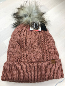 Cable Knit Cuffed Beanie with Lining