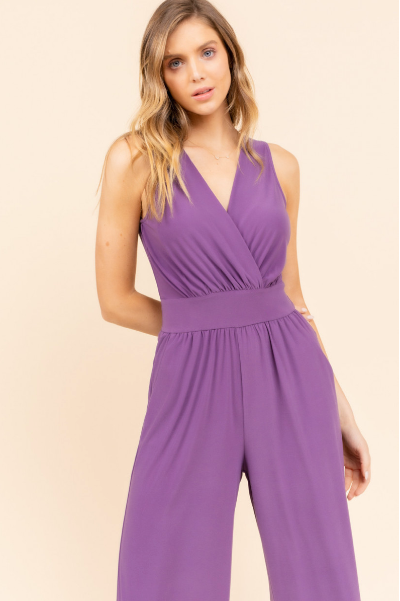 V-Neck Jumpsuit with Gathered Waist & Pockets