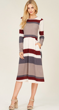 Load image into Gallery viewer, Striped Sweater Dress with Pockets