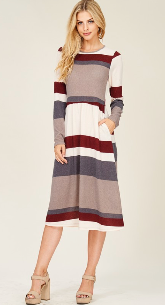 Striped Sweater Dress with Pockets