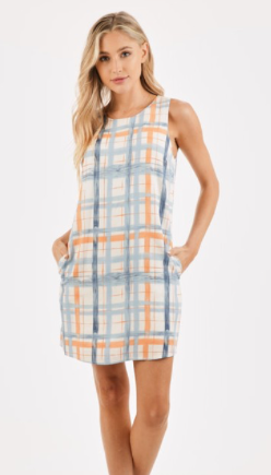 Soft Plaid Dress with Button Up Back & Pockets