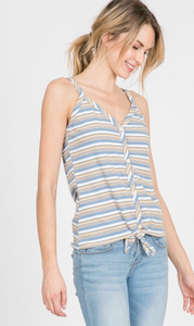 Striped Ribbed Button Down Front Tie Tank Top