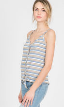 Load image into Gallery viewer, Striped Ribbed Button Down Front Tie Tank Top