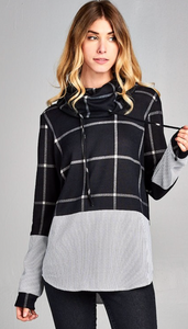 Plaid Sweater Top with Pinstripe Woven Bottom