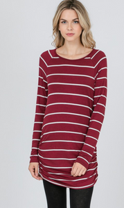 LS Stripe Side Gathered Top (2 Colours)