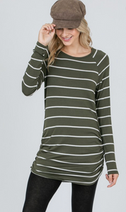 LS Stripe Side Gathered Top