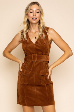 Sleeveless V Neck Corduroy Dress