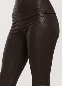 Embossed Snake Skin Faux Leather High Waist Leggings