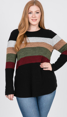 Black Multi Stripe LS Sweater - Plus Size