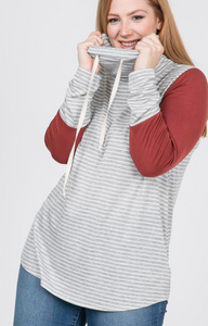 Plus Size Striped Cowl Neck LS