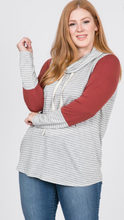 Load image into Gallery viewer, Plus Size Striped Cowl Neck LS