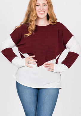 Colour Block LS Sweater - Plus Size