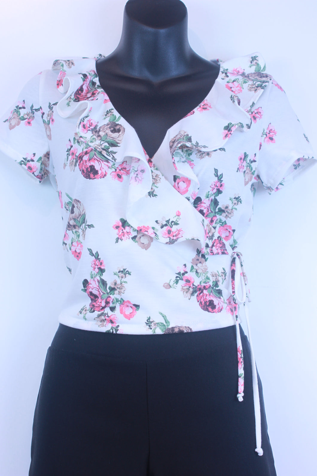 SS Floral Wrap Side Tie Top