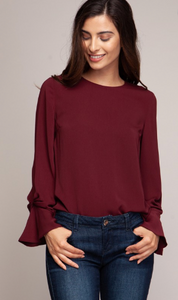 LS Blouse with Sleeve Tuck Detail