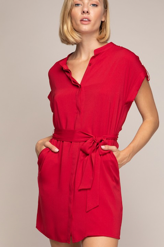 Shift Tie Waist Shirt Dress