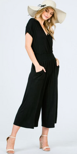 Surplice Jumpsuit with Smocking Waist Band