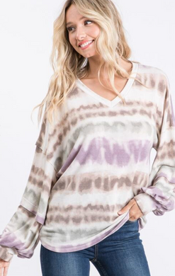 LS Tie Dye Top with Layered Sleeves
