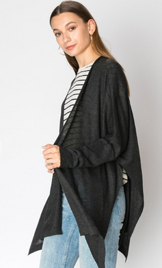 Sweater Knit Side Slit Cardigan