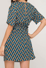 Load image into Gallery viewer, Teal Short Sleeve Geo Print Dress w/ Waist Tie