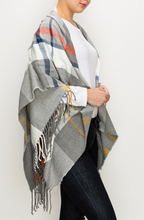 Load image into Gallery viewer, Plaid Fringe Shawl Scarf