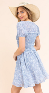 SS Printed Dress with Smocking Detail