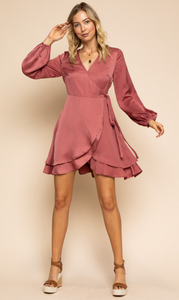 LS Double Layer Wrap Dress
