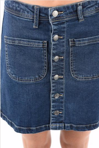 Magnolia Button Up Front Pocket Denim Skirt