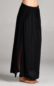 Lined Side Slit Gauze Skirt