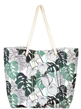 Load image into Gallery viewer, Multi Leaf Print Canvas Tote