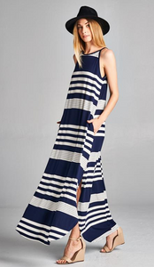 Striped Maxi Dress with Pockets