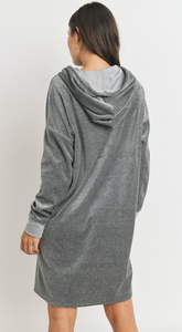 Soft Velour Hoodie Knit Dress