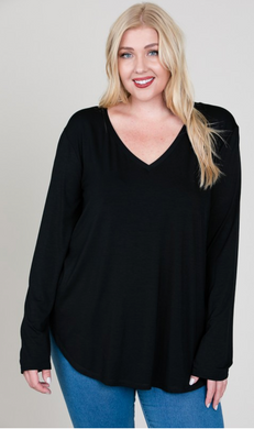 Modal LS V Neck Top - Plus Size (4 Colours)
