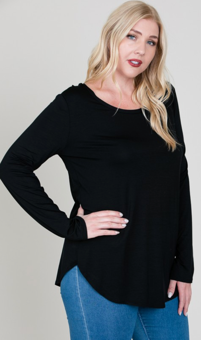 Modal LS Scoop Neck Top - Plus Size (5 Colours)