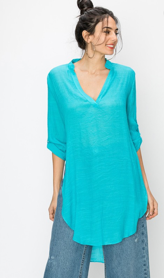 Mandarin Collar Cover Up Tunic