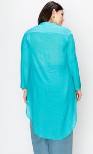 Mandarin Collar Cover Up Tunic - Plus Size