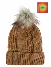 Load image into Gallery viewer, Cable Knit Cuffed Beanie with Lining