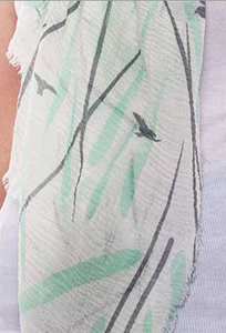 Swallows Print Oblong Scarf