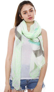 Multi Color and Print Oblong Scarf