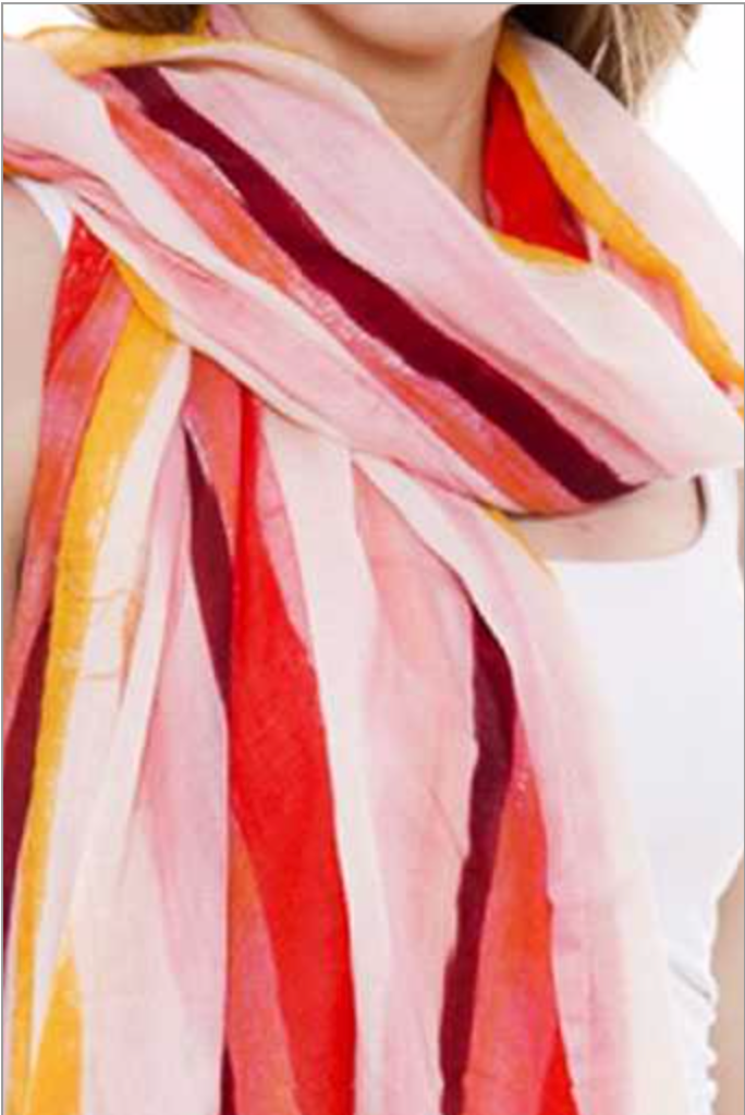 Soft Stripes Print Oblong Scarf
