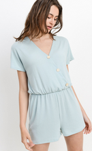 Load image into Gallery viewer, Loop Jersey Surplice Button Down Romper