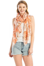 Load image into Gallery viewer, Flower Print Chiffon Scarf