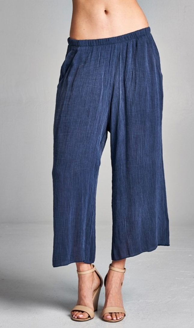 Washed Crinkle Pocket Pant with Lined Inside
