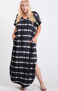 Tie-dye Stripe Maxi Dress - Plus Size