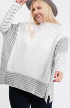 Load image into Gallery viewer, Mock Neck Brushed Hacci Poncho Sweater - Plus Size