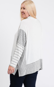 Mock Neck Brushed Hacci Poncho Sweater - Plus Size