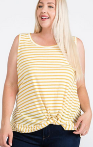 Sleeveless Tank with Twisted Bottom - Plus Size (2 Colours)