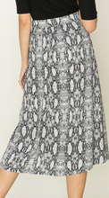 Load image into Gallery viewer, Side Button Snake Skin Pleated Midi Skirt