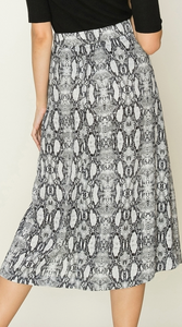 Side Button Snake Skin Pleated Midi Skirt