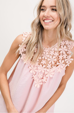 Floral Crochet Trim Sleeveless Blouse