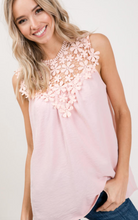 Load image into Gallery viewer, Floral Crochet Trim Sleeveless Blouse
